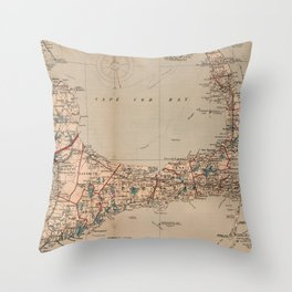 Vintage Map of Cape Cod MA (1905) Throw Pillow
