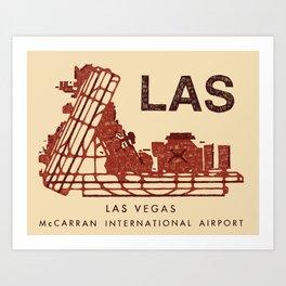 LAS Airport Map + text Art Print