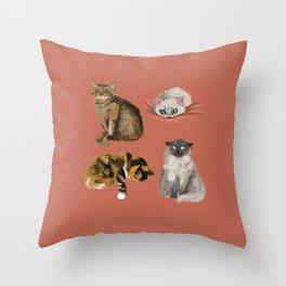 Quatre Cat Throw Pillow
