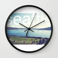 seattle Wall Clocks featuring seattle by Rae Snyder
