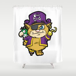 PURRATES Pirate Cat Buccaneer Sea Robber Comic Shower Curtain