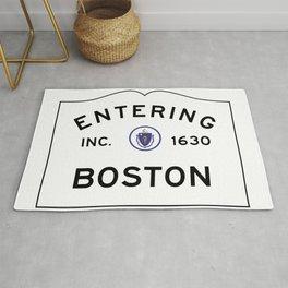 Entering Boston - Commonwealth of Massachusetts Road Sign Rug