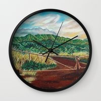 country Wall Clocks featuring Country by Art by Risa Oram