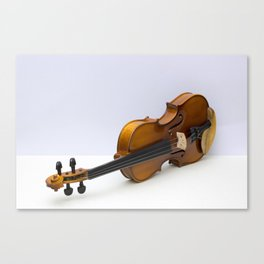 violin on a gray background Canvas Print