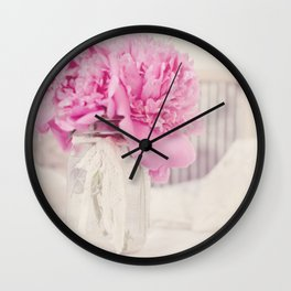 Pink Peony Blooms and Grandma's Washboard Wall Clock