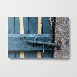 Old blue wooden farm doors Metal Print