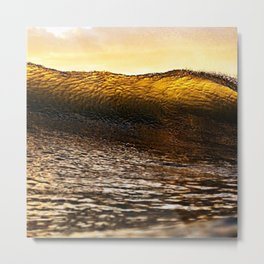 Ocean Waves - Amber Metal Print