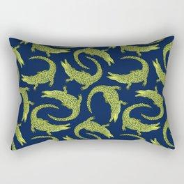 Crocodiles (Deep Navy and Green Palette) Rectangular Pillow