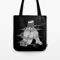 pinup Tote Bags featuring Pinup 3 by Scott Snowden