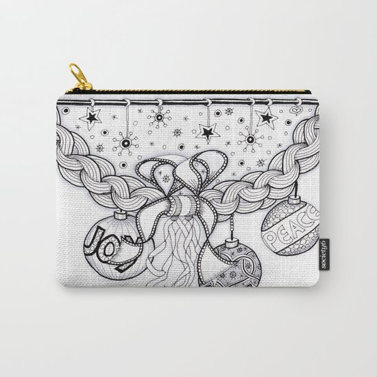 Christmas Zentangle Swag in Black and White for Adult Colorists Carry-All Pouch