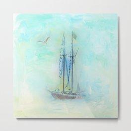 Tranquil Shores - Ship Metal Print