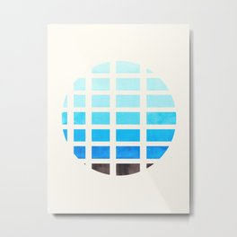 Watercolor Cerulean Blue Minimalist Mid Century Modern Square Matrix Geometric Pattern Round Circle Metal Print