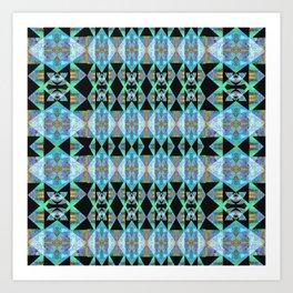Electric Blue Green Diamond Geometric Power Print Art Print