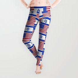 Mix of flag : usa and israel Leggings