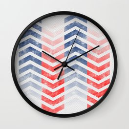 Chevron in Red White & Blue Wall Clock