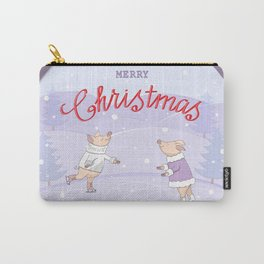 skating couple piggies merry christmas Carry-All Pouch