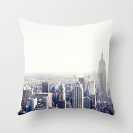 New York, The Empire State on black and white Throw Pillow