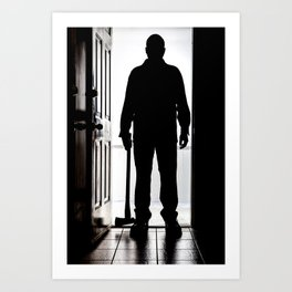 Bad Man at door in silhouette with axe Art Print
