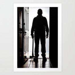 Bad Man at door in silhouette with axe Art Print