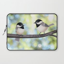 2 black-capped chickadees - bokeh Laptop Sleeve