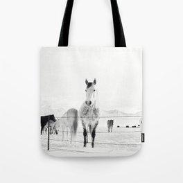 Winter Horse Landscape Tote Bag