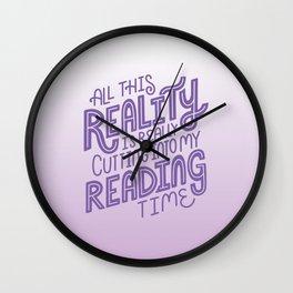 Reality Vs. Reading Bookish Purple Wall Clock