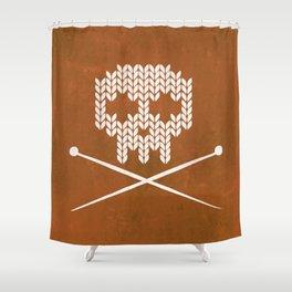 Knitted Skull - White on Orange Shower Curtain