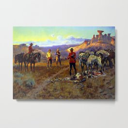 """Caught With the Goods"" by Charles M Russell Metal Print"