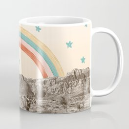 Canyon Desert Rainbow // Sierra Nevada Cactus Mountain Range Whimsical Painted Happy Stars Coffee Mug