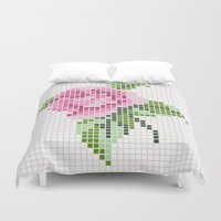 shabby chic Duvet Covers featuring Shabby Chic Pink Rose by Alisa Galitsyna