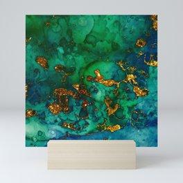 Emerald And Blue Glitter Marble Mini Art Print