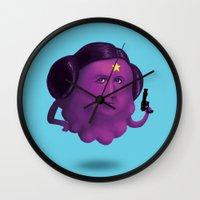lumpy space princess Wall Clocks featuring Lumpy Space Princess Leia by Joshua Ang