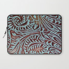 Light Blue & Brown Tooled Leather Laptop Sleeve