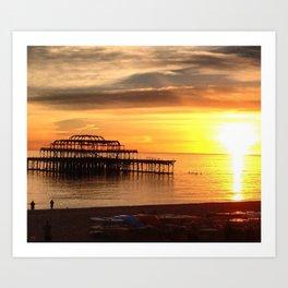 West Pier at Sunset Art Print