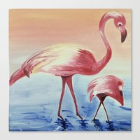 flamingos Canvas Prints featuring FLAMINGOS by ArtSchool