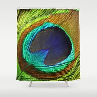 feathers Shower Curtains featuring feathers by mark ashkenazi