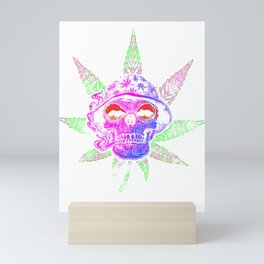 Marijuana Leaf Weed Smoking Skull with a Bucket Hat Mini Art Print