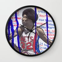 nba Wall Clocks featuring NBA PLAYERS - Julius Erving by Ibbanez