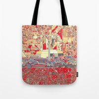 washington dc Tote Bags featuring washington dc city skyline by Bekim ART