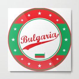Bulgaria, circle, white, with flag Metal Print