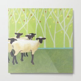 Sheep Crossing Metal Print