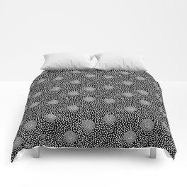 BOJANGLES, VINTAGE RETRO DOTS: WHITE on BLACK Comforters
