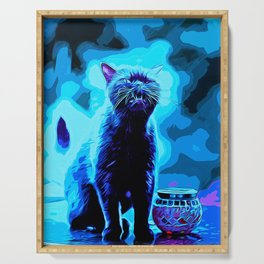 british shorthair cat ready to attack vector art moonlight Serving Tray