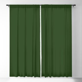 Solid Dark Forest Green Simple Solid Color All Over Print Blackout Curtain