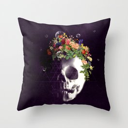 Skull with flowers no1 Throw Pillow