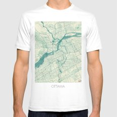 Ottawa Map Blue Vintage Mens Fitted Tee MEDIUM White