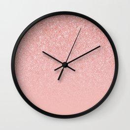 Rose Gold Glitter Cascade Wall Clock