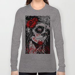 Girl With Sugar Skull, Day of the Dead Long Sleeve T-shirt