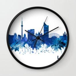 Leipzig Germany Skyline Blue Wall Clock