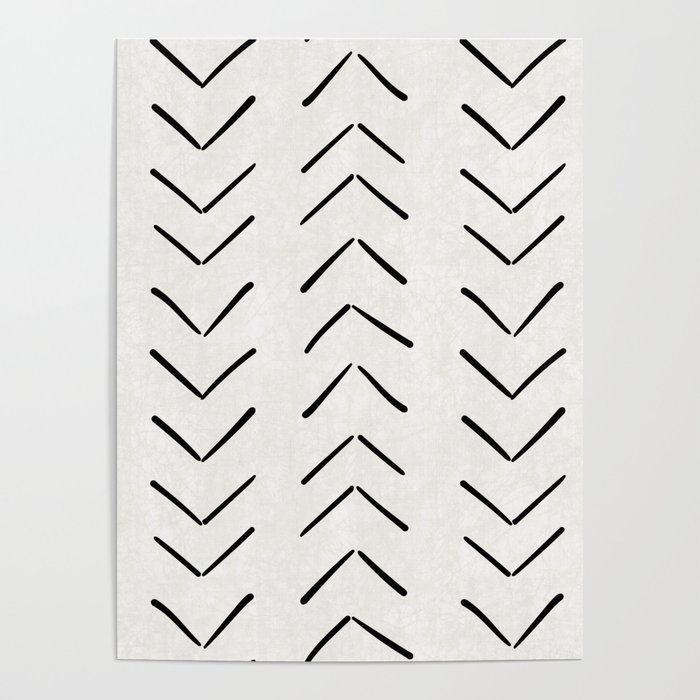 Mud Cloth Big Arrows in Cream Poster